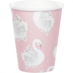 Banderole à fanions Cygne Rose Poudré Blanc et Doré - Swan Anniversaire