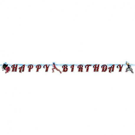 Banderole à fanions Anniversaire Happy Birthday Thème Coccinelle sur cordelette