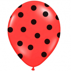 Ballons Latex Rouge à Pois Noir