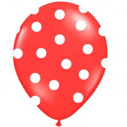Ballons Latex Rouge à Pois Blanc