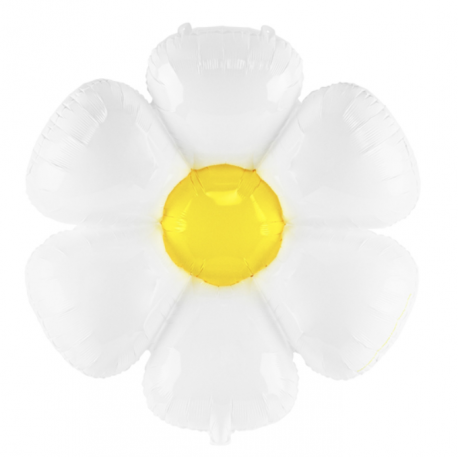 Ballon alu fleur blanche - marguerite