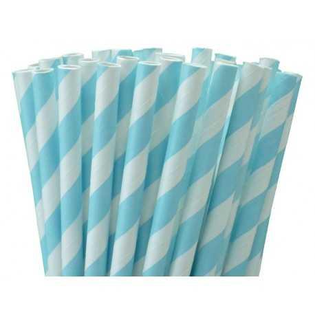 10 Pailles Rétro Rayées Bleu et Blanc