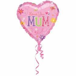 Ballon Coeur Love You Mum Fête des mères