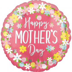 Ballon Rond Happy Mother Day Fleurs - Fête des mères