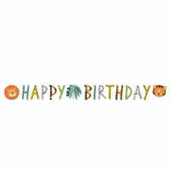 Banderole Happy Birthday - Animaux du Zoo et Jungle