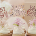 12 Piques Cup Cakes Baby in Bloom Rose Gold Cuivré