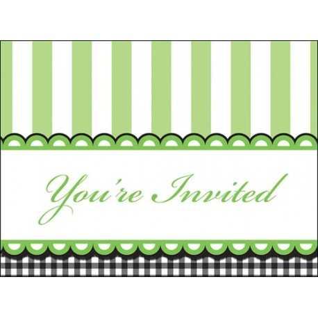 8 Invitations Baby Shower Thème Petits Petons Vert