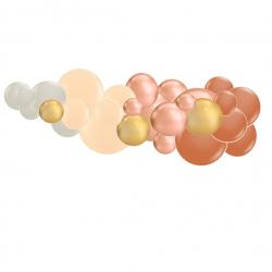 Guirlande de ballons organiques - Rose Gold et Blanc