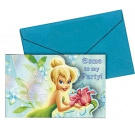 6 Cartes d'invitation Anniversaire Fée Clochette Disney