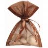 10 Sachets Ballotins Organza Chocolat à dragées