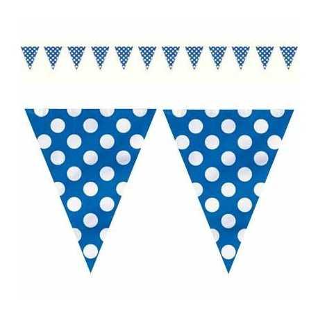 Banderole fanions en Plastique Bleu à Pois Blanc