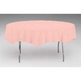 nappe plastique rose uni lavable pour votre fête pour une table ronde