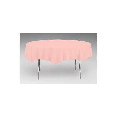 Nappe Plastique Table Ronde Rose Lavable