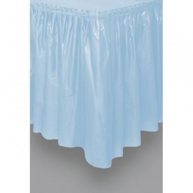 Jupe de Table Plastique Bleu Lavable