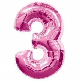 Ballon Géant Alu Rose 3 Ans Fête d'Anniversaire enfant