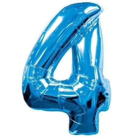 Ballon Géant Alu Bleu 4 Ans Fête d'Anniversaire enfant