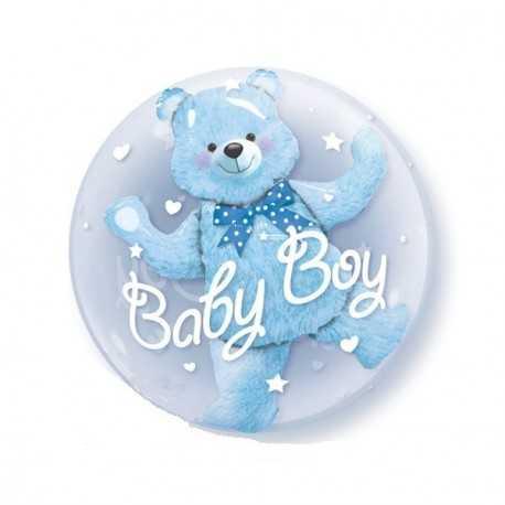 Ballon Double Bubble avec Ourson Bleu Garçon