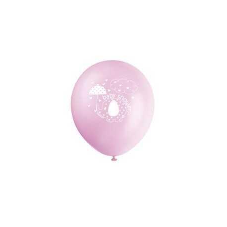 8 Ballons Latex Baby Shower Petit éléphant rose
