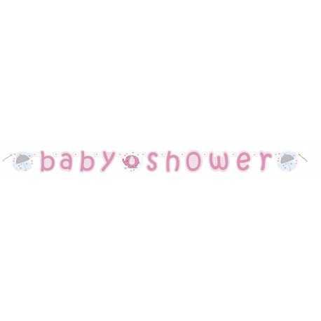 Banderole Baby Shower Eléphant rose