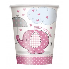 Verres Jetables Baby Shower Petit Elephant Rose
