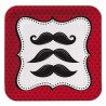 Petites Assiettes carré Moustache rouge et noir