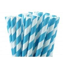 10 Pailles Rétro Rayées Bleu Turquoise et Blanc