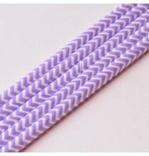 10 Pailles Rétro Chevron Zig Zag Violet Blanc
