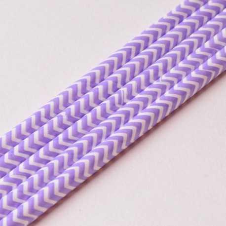 10 Pailles Rétro Chevron Zig Zag Violet/lilas Blanc