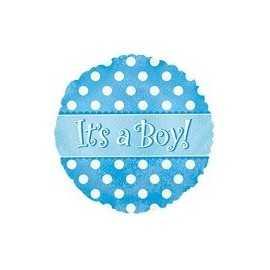 Ballon C'est un garçon A pois Bleu