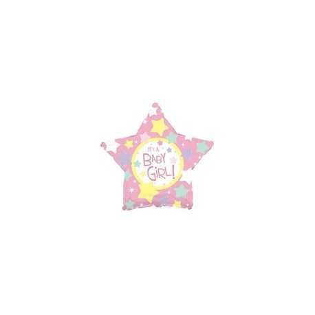 Ballon C'est une Fille Baby Girl Pastel Etoile