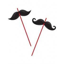 6 Pailles Rouges avec Moustache noire