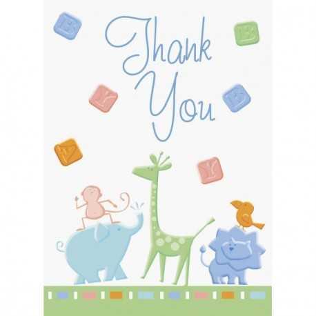 Carte de Remerciements Animaux du Zoo + Enveloppe
