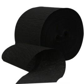Serpentin Noir Uni Papier Crépon Décoration de Fête