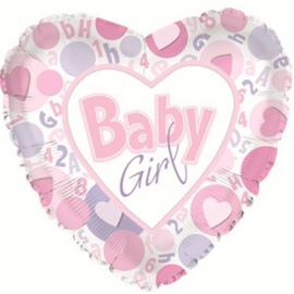 Ballon Baby Girl Pastel Coeur