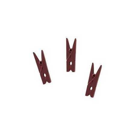 Pinces marron chocolat en bois x 20