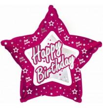 Ballon Etoile Rose Happy Birthday Joyeux Anniversaire