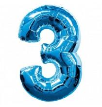 Ballon Géant Alu Bleu 3 Ans Fête d'Anniversaire