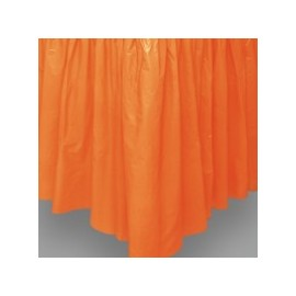 Jupe de Table Plastique Orange Lavable