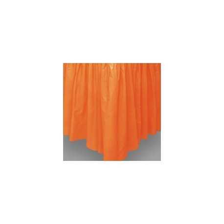 Jupe de Table Plastique Orange Lavable