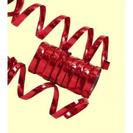 10 Serpentins Holographiques Métalisé Rouge