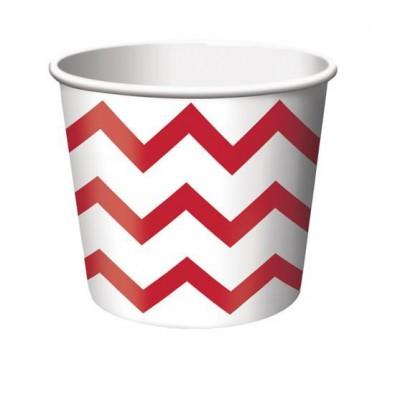 Petits Pots Contenants Chevron rouge et blanc
