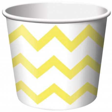 Petits Pots Contenants Chevron jaune et blanc