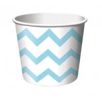 Petits Pots Contenants Chevron bleu clair et blanc