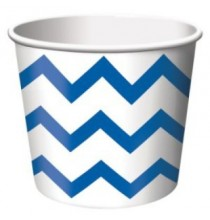 Petits Pots Contenants Chevron bleu et blanc