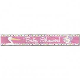 Banderole Baby Shower Cigogne Rose Naissance