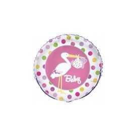 Ballon Géant Alu Baby Shower Cigogne Rose Naissance