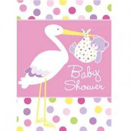 8 Invitations Baby Shower Cigogne Rose Naissance