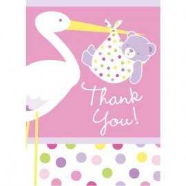 Cartes de Remerciements Cigogne Rose Naissance