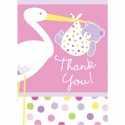Carte de Remerciements Cigogne Rose Naissance