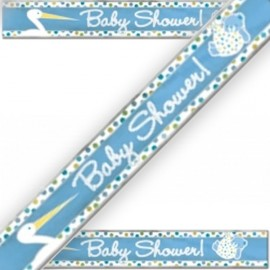 Banderole Baby Shower Cigogne Bleue Naissance